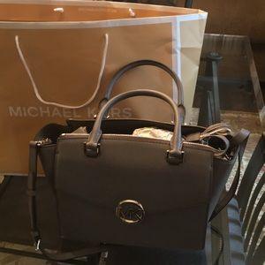 Michael Kors Hudson heather gray satchel